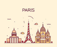 Paris City skyline Trendy vector line art Royalty Free Stock Photography