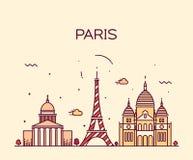 Paris City skyline Trendy vector line art. Paris City skyline detailed silhouette Trendy vector illustration, line art style stock illustration