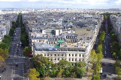 Paris city view. From the top of the Arc de Triomphe Royalty Free Stock Image