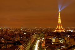 Paris City View. Iconic night time view of Paris, France