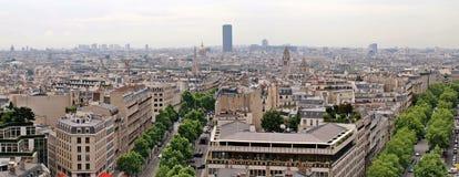 Paris city view from Arc de triomphe. Paris city panoramic view from Arc de triomphe Royalty Free Stock Images
