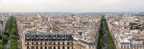 Paris city view from Arc de triomphe. Paris city panoramic view from Arc de triomphe Royalty Free Stock Photo