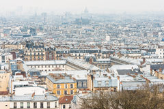 Paris city view from The Basilica of the Sacred Heart Royalty Free Stock Image