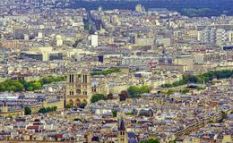 Paris city, view of Notre Dame Cathedral. From Eiffel Tower Stock Image