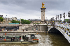 Paris city view. View on Seine river and Alexander III Bridge. Paris, France Royalty Free Stock Photo