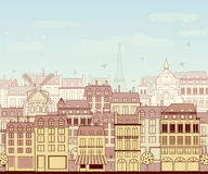 Paris cityscape. With traditional buildings and famous architectures elements Royalty Free Stock Image