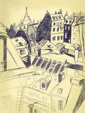 Paris cityscape. Vintage pen drawing showing Paris' rooftops Royalty Free Stock Photos