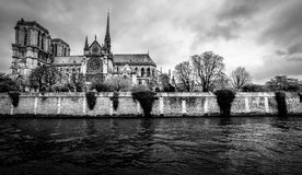 Paris cityscape in black and white. Notre Dame gothic cathedral Stock Photography
