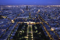 Paris Cityscape By Night From Above Stock Photography