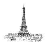 Paris,cityscape with Eifel Tower. Sketch for your design Stock Images