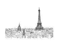 Paris,cityscape with Eifel Tower. Sketch for your design Royalty Free Stock Photo
