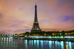 Paris cityscape with Eiffel tower. Early in the morning Stock Photos