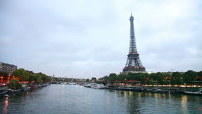 Paris cityscape with Eiffel tower stock video footage