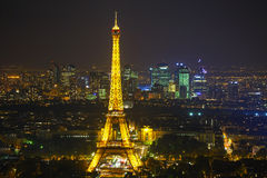 Paris cityscape with Eiffel tower. PARIS - OCTOBER 11: Paris cityscape with Eiffel tower on October 11, 2014 in Paris, France. It's an iron lattice tower located Royalty Free Stock Photo
