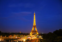 Paris cityscape with Eiffel tower. PARIS - OCTOBER 9: Paris cityscape with Eiffel tower on October 9, 2014 in Paris, France. It's an iron lattice tower located Royalty Free Stock Images