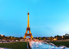 Paris cityscape with Eiffel tower. PARIS - OCTOBER 9: Paris cityscape with Eiffel tower on October 9, 2014 in Paris, France. It's an iron lattice tower located Royalty Free Stock Photos