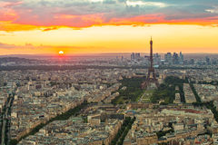 The Paris cityscape with Eiffel Tower at sunset Royalty Free Stock Image