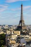 Paris cityscape with Eiffel Tower. Paris, France. Paris cityscape with Eiffel Tower from the top of Triumphal Arch of the Star Arc de Triomphe de l`Etoile at the Royalty Free Stock Image