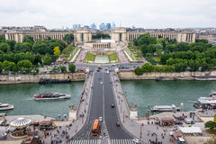 Paris cityscape from Eiffel Tower. Trocadero, River Seine and Paris traffic from high view point of Eiffel Tower Stock Image