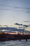 Paris cityscape på skymning Royaltyfri Foto
