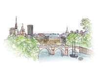 Paris cityscape with Seine embankment. Old city spring view. Str Stock Photography
