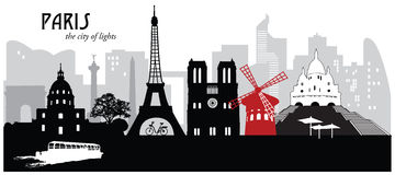 Paris cityscape skyline. Vector illustration of several famous landmarks and buildings in a skyline of Paris, France Royalty Free Stock Photos
