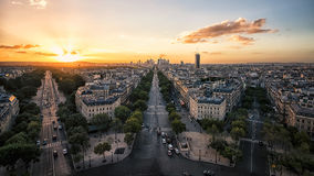 Paris cityscape sunset. Sunset over Paris viewed from the Arc de Triomphe Stock Image