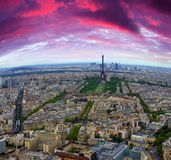 Paris cityscape at sunset, red clouds added. In the frame stock image