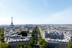 Paris cityscape. Wide angle Paris cityscape with the landmark, tourist destination Eiffel Tower, Paris, France Royalty Free Stock Images