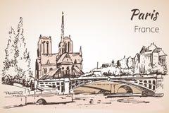 Paris cityspace. Cathedral Notre Dame de Paris. Sketch. On white background Stock Photos