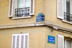 Paris classic blue street sign Royalty Free Stock Image