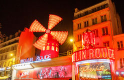 Paris. The classic French cabaret Moulin Rouge. Stock Photos