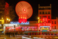 Paris. The classic French cabaret Moulin Rouge. Royalty Free Stock Images