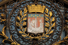 Paris Coat of Arms. Coat of Arms of the city of Paris at the Hotel de Ville or City Hall in Le Marais stock image