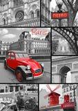 Paris collage av de mest berömda monumenten och gränsmärkena Arkivbilder