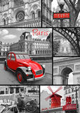 Paris collage of the most famous monuments and landmarks. Black and white with red ellements Stock Images
