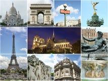Paris collage - turistviktig Royaltyfri Fotografi