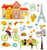 Paris collection. Collection of cartoon symbols of Paris Royalty Free Stock Photography