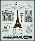Paris collection elements vector hand drawn Stock Images