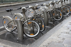 Paris community bikes Royalty Free Stock Photos
