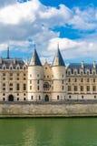 Paris, the Conciergerie. Paris, view of the Seine with the Conciergerie on the ile de la Cit stock photos