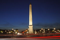 Paris-Concorde square by night Royalty Free Stock Images