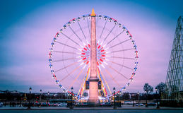 Paris Concorde Wheel-Obelisk stock photography