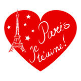 Paris, coração, ilustração tirada mão Fotografia de Stock