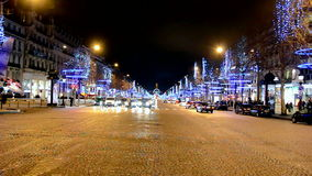 Paris, cristsmas illumination, Avenue des Champs-Elysees, stock video