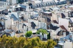 Paris-Dachspitzen gesehen vom Turm von Notre Dame lizenzfreie stockfotos