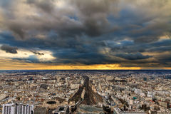 Paris dark clouds skyline Stock Image