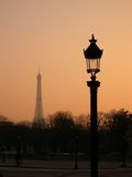Paris in dawn. With Eiffel tower in behind, silhouette Stock Images