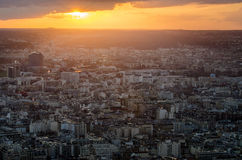 Paris at dawn from the Top. Royalty Free Stock Photos