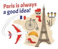 Paris Decorative Flat Icons Set Stock Images
